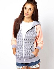 Bellfield Zip Through Hoodie With Print Panels