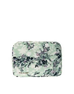 Image 1 ofPaul &amp; Joe Green Floral Print Cosmetic Bag