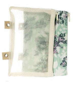 Image 2 ofPaul &amp; Joe Green Floral Print Cosmetic Bag