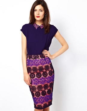 Image 1 ofFrench Connection Lace Mix Dress With Contrast Lining