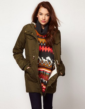 Image 1 ofVila Faux Fur Lined Hooded Parka