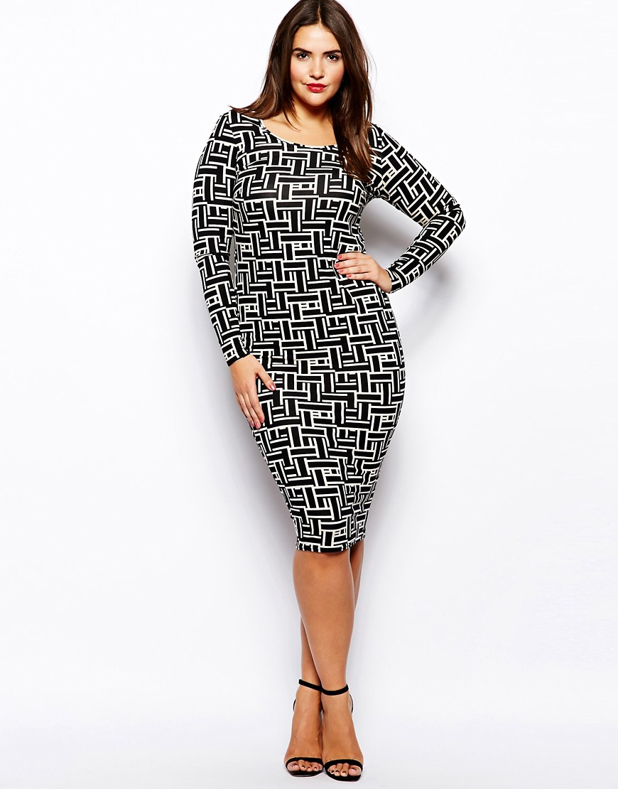 Image 4 ofASOS CURVE Exclusive Bodycon Dress In Grid Print In Longer Length