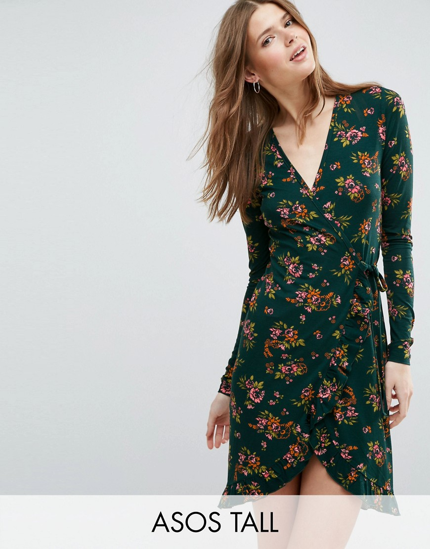 ASOS TALL Wrap Tea Dress in Floral Print with Frill Detail - Multi