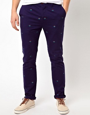 Image 1 ofASOS Slim Chino With Embroidery