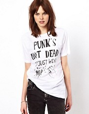 Black Score by Simeon Farrar Punk's Not Dead it Just Went Pop T-Shirt