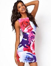 ASOS Large Rose Printed Mini Bodycon