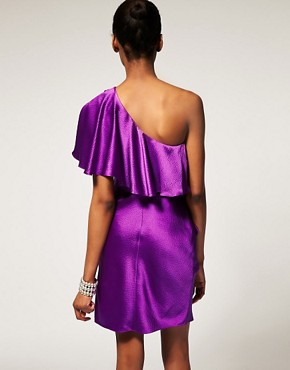 Image 2 ofHalston Heritage One Shoulder Ruffle Dress In Hammered Silk