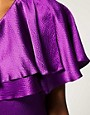 Image 3 ofHalston Heritage One Shoulder Ruffle Dress In Hammered Silk