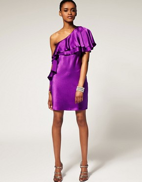 Image 4 ofHalston Heritage One Shoulder Ruffle Dress In Hammered Silk