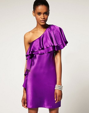 Image 1 ofHalston Heritage One Shoulder Ruffle Dress In Hammered Silk