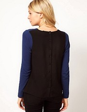 ASOS Jumper With Woven Button Back