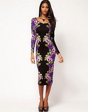 ASOS Midi Bodycon Dress With Rose Placement Print