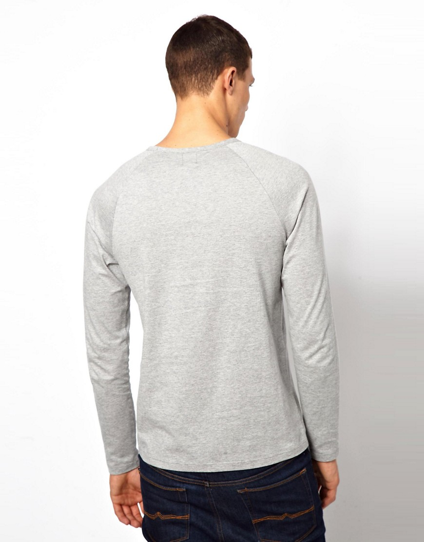 Image 2 ofASOS Long Sleeve T-Shirt With Raglan Sleeves 2 Pack Grey Marl/Ecru SAVE 12.5%