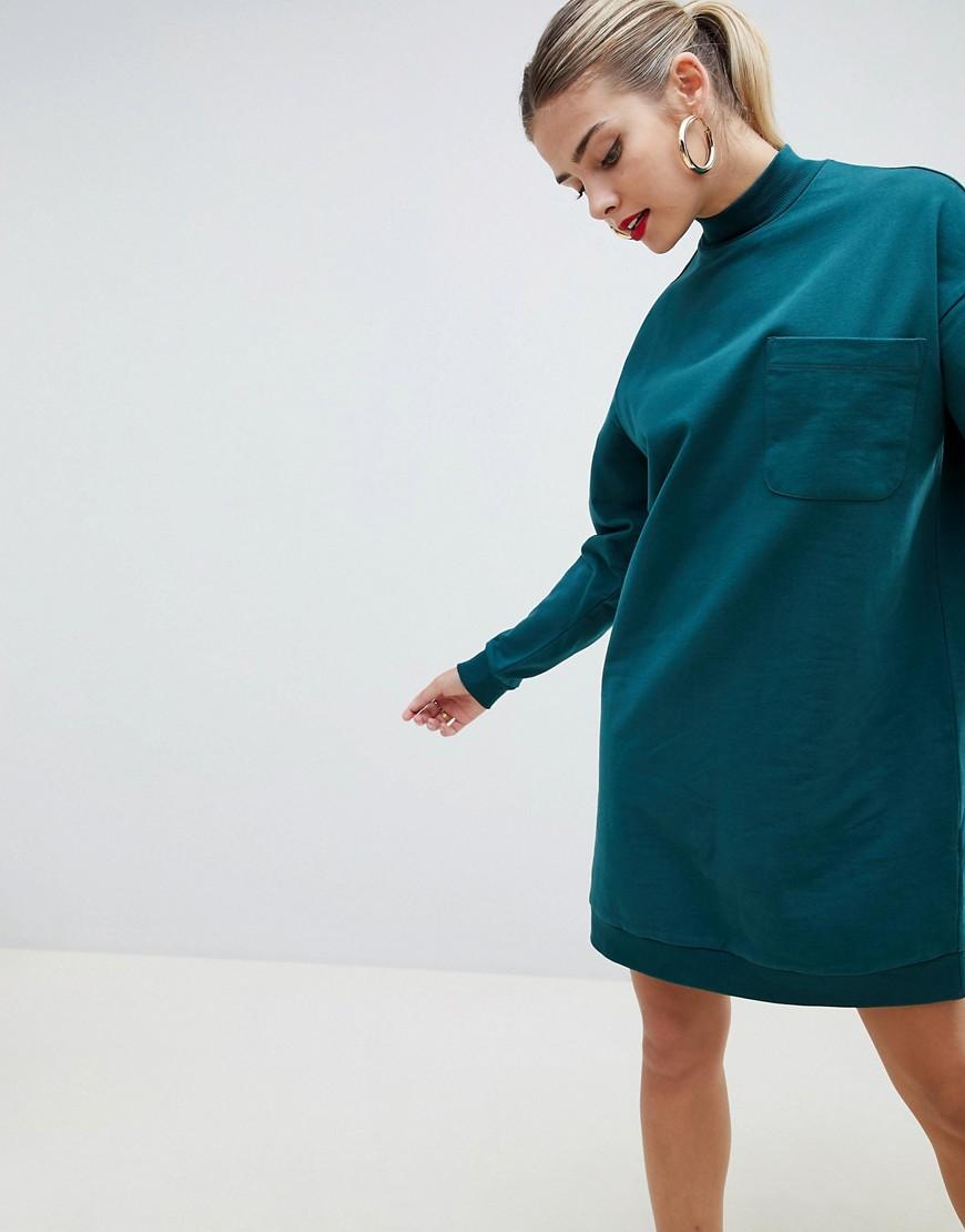 Трикотажное платье с накладным карманом ASOS DESIGN - Зеленый