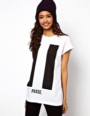 ASOS Boyfriend T-Shirt with Pause Print