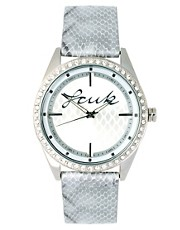 French Connection Faux Crocodile Strap Watch