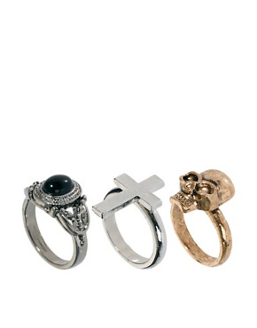 Image 1 ofRiver Island Rose Cross And Band Blogger Ring Pack