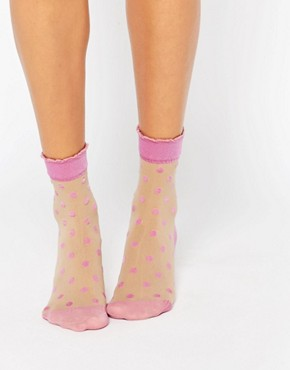 Pretty Polly Pink Spot Sock