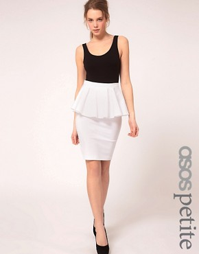 Image 1 ofASOS PETITE Exclusive Peplum Waist Skirt