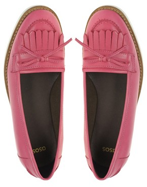 Image 3 ofASOS MINDY Leather Loafer Shoes with Contrast Sole