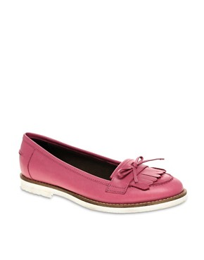 Image 1 ofASOS MINDY Leather Loafer Shoes with Contrast Sole