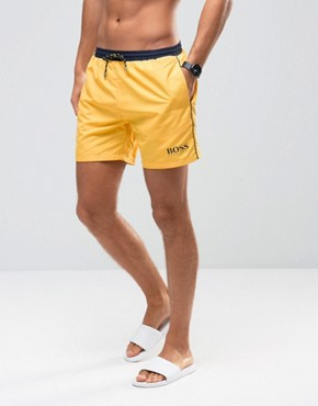 Hugo Boss Star Fish Swim Short In Yellow