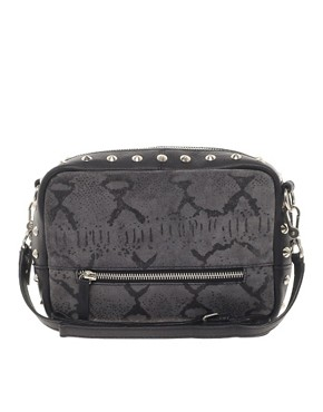 Image 1 ofASOS Leather Stud &amp; Snake Print Across Body Bag