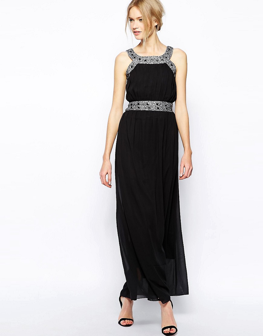 QED London Beaded Maxi Dress - Black