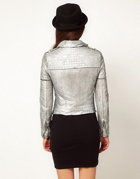 Image 2 ofMuubaa Leather Biker Jacket with Quilted Detailing in Silver