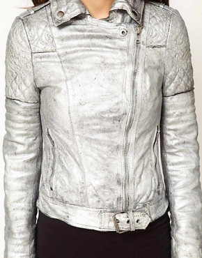 Image 3 ofMuubaa Leather Biker Jacket with Quilted Detailing in Silver