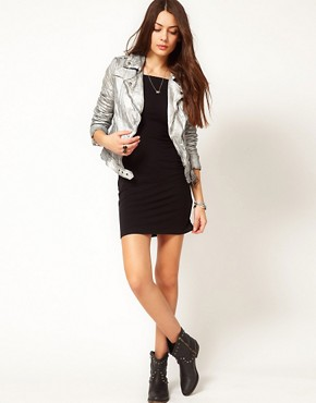 Image 4 ofMuubaa Leather Biker Jacket with Quilted Detailing in Silver