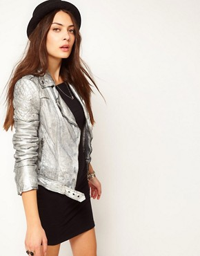 Image 1 ofMuubaa Leather Biker Jacket with Quilted Detailing in Silver