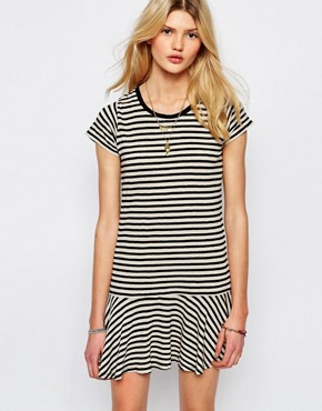 Sessun Drop Waist Mini Dress in Stripe
