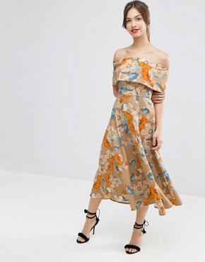 ASOS Gold Floral Off The Shoulder Bardot Midi Prom