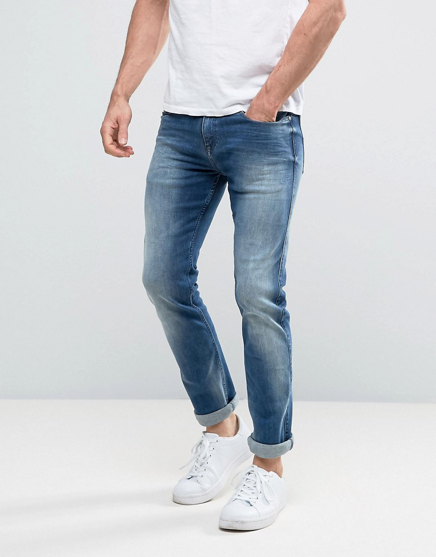 Calvin Klein Jeans Slim Straight Jeans in Elastic Mid - Blue