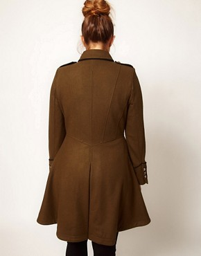 Image 2 ofASOS CURVE Military Fit and Flare Coat