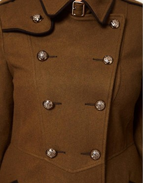 Image 3 ofASOS CURVE Military Fit and Flare Coat