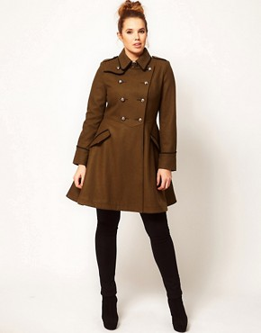 Image 4 ofASOS CURVE Military Fit and Flare Coat