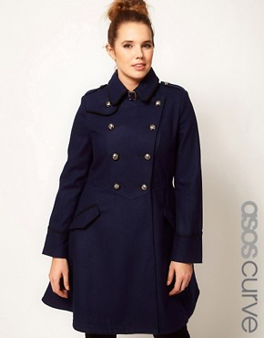 Image 1 ofASOS CURVE Military Fit and Flare Coat
