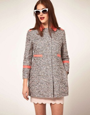 Image 1 ofASOS Textured Coat With Contrast Collar