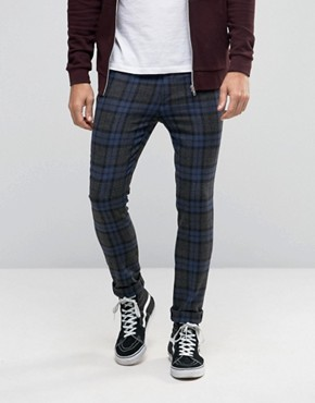 ASOS Super Skinny Trousers In Blue Check
