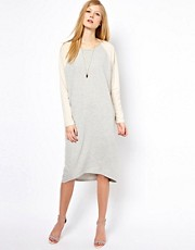 Selected Exclusive to ASOS Sweater Midi Dress with Contrast Sleeve