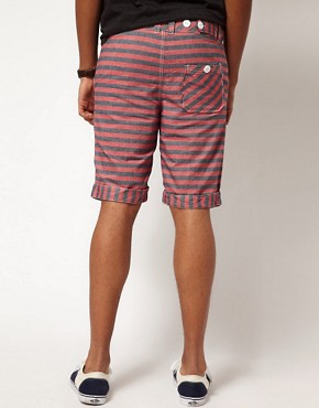 Image 2 of Bellfield Shorts in Striped Chambray
