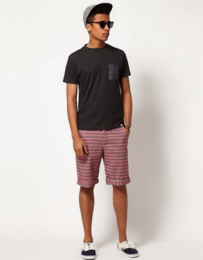 Image 4 of Bellfield Shorts in Striped Chambray