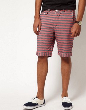 Image 1 of Bellfield Shorts in Striped Chambray
