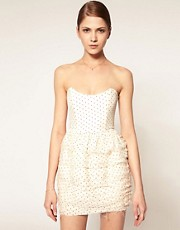 Camilla &amp; Marc Strapless Dress In Polka Dot With Ruffle Skirt