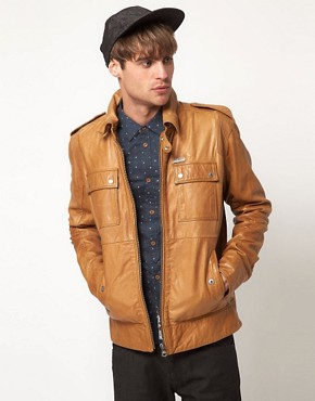 Image 1 ofDiesel Lisardo Leather Jacket