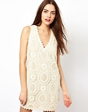 French Connection Lace Trim Dress