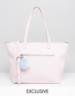 Skinnydip Exclusive Winged Tote Bag in Pink With Pom