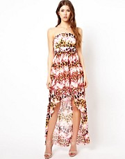 Lipsy Leopard Print Dipped Hem Maxi Dress